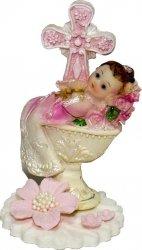 Hokus - Dziewczynka z chrzcielnicą - dekoracja tortu na chrzest