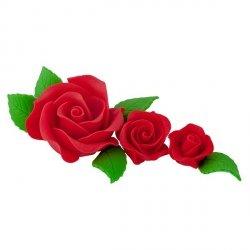 Zestaw cukrowe kwiaty na tort 3 RÓŻE z listkami CZERWONE