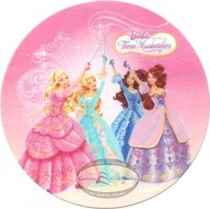 Kardasis - opłatek na tort okrągły Barbie Trzy Muszkieterki
