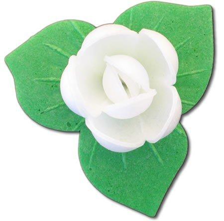 Róże z listkami opłatkowe - kompozycja 3 szt. białe