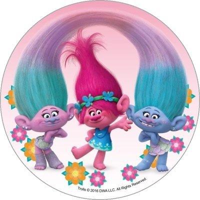 Opłatek waflowy okrągły na tort Trolle Trolls
