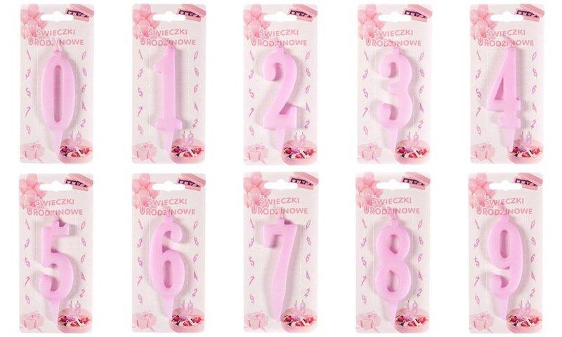 Różowa świeczka urodzinowa na tort cyfra 0