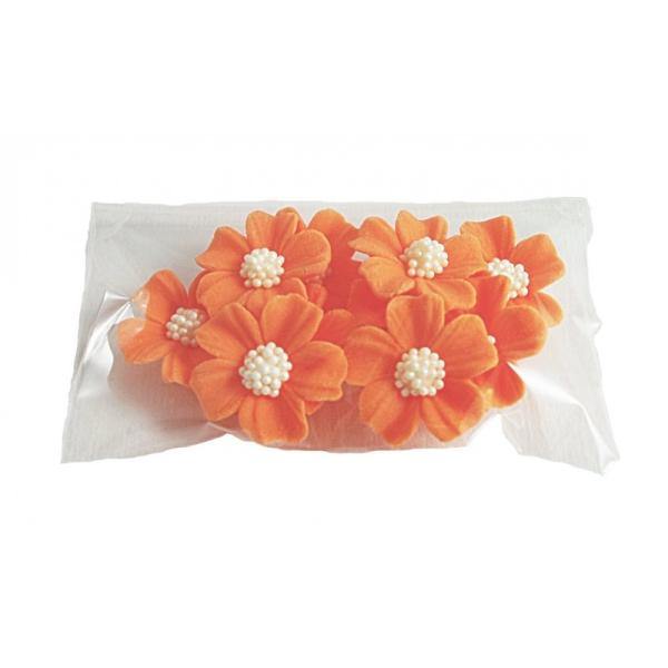 Kwiatki cukrowe na tort NIEZAPOMINAJKA 10szt pomarańczowe