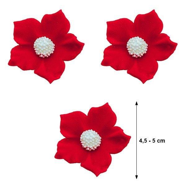 Duże kwiaty cukrowe na tort CLEMATIS 3szt czerwone