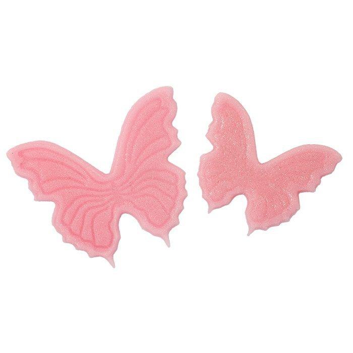 Motylki cukrowe na tort płaskie różowe 14szt