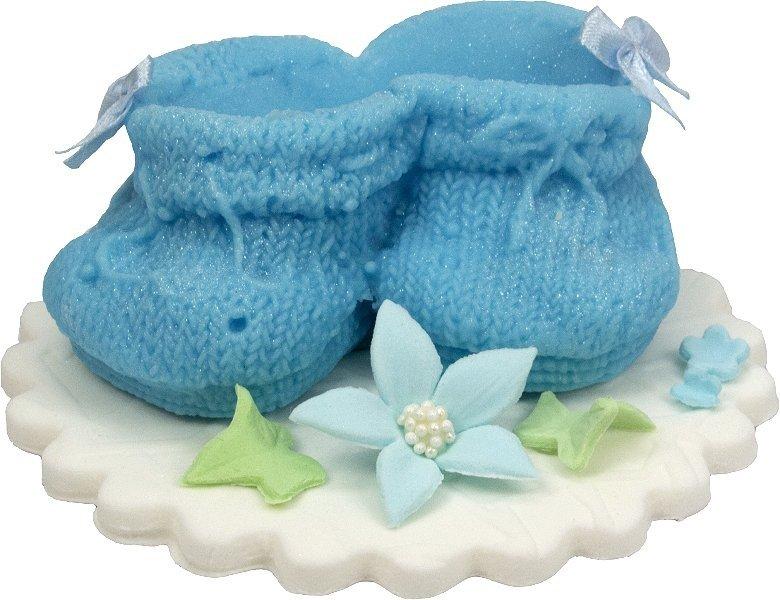 Buciki niebieskie dekoracja tortu na chrzest baby shower