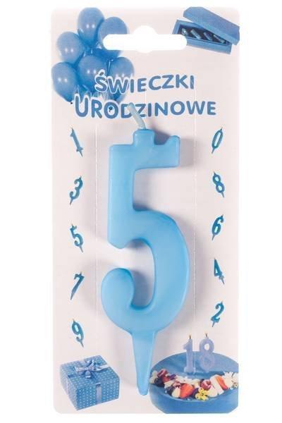 Niebieska świeczka urodzinowa na tort cyfra 5