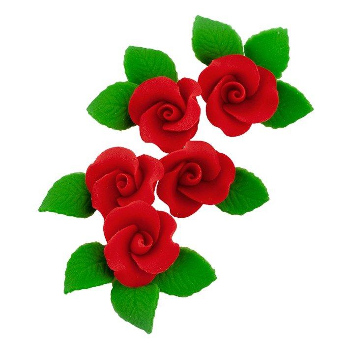 Zestaw cukrowe kwiaty 5x RÓŻA MAŁA z listkami CZERWONA