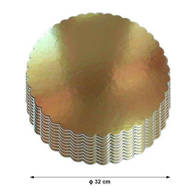 Podkład pod tort gruby złoty karbowany śr. 32cm - 10szt