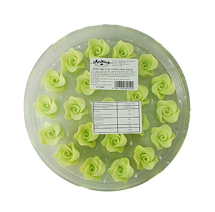 Róże cukrowe MAŁE 22szt seledynowe