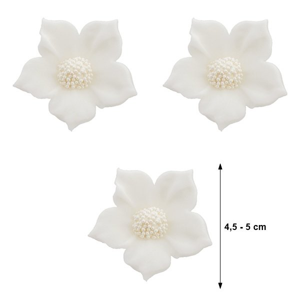 Duże kwiaty cukrowe na tort CLEMATIS 3szt białe