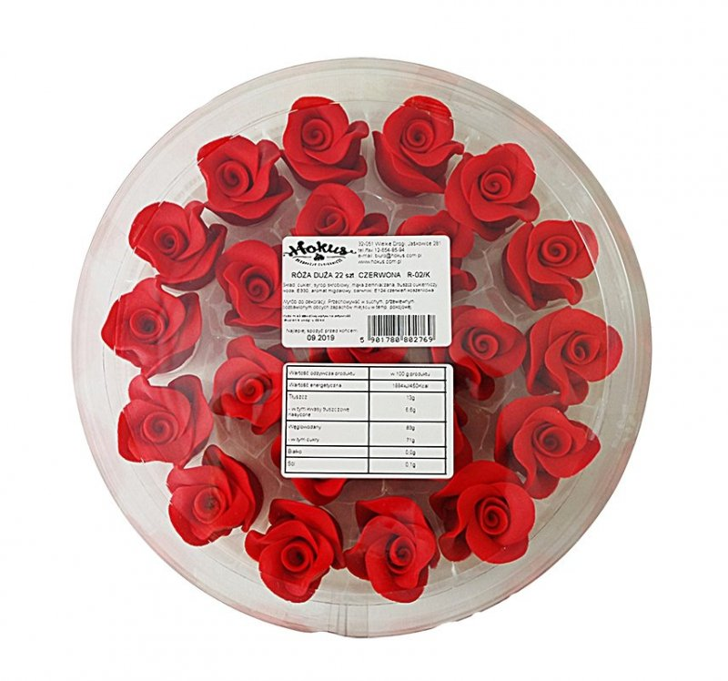 Róże cukrowe DUŻE 22szt czerwone