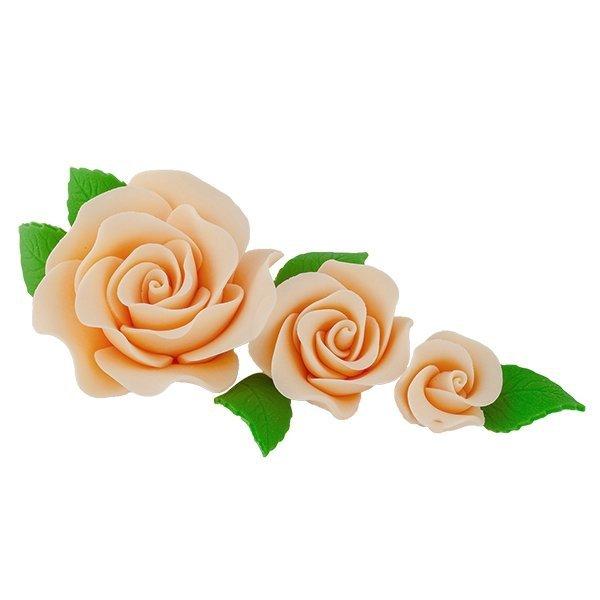 Zestaw cukrowe kwiaty na tort 3 RÓŻE z listkami HERBACIANE