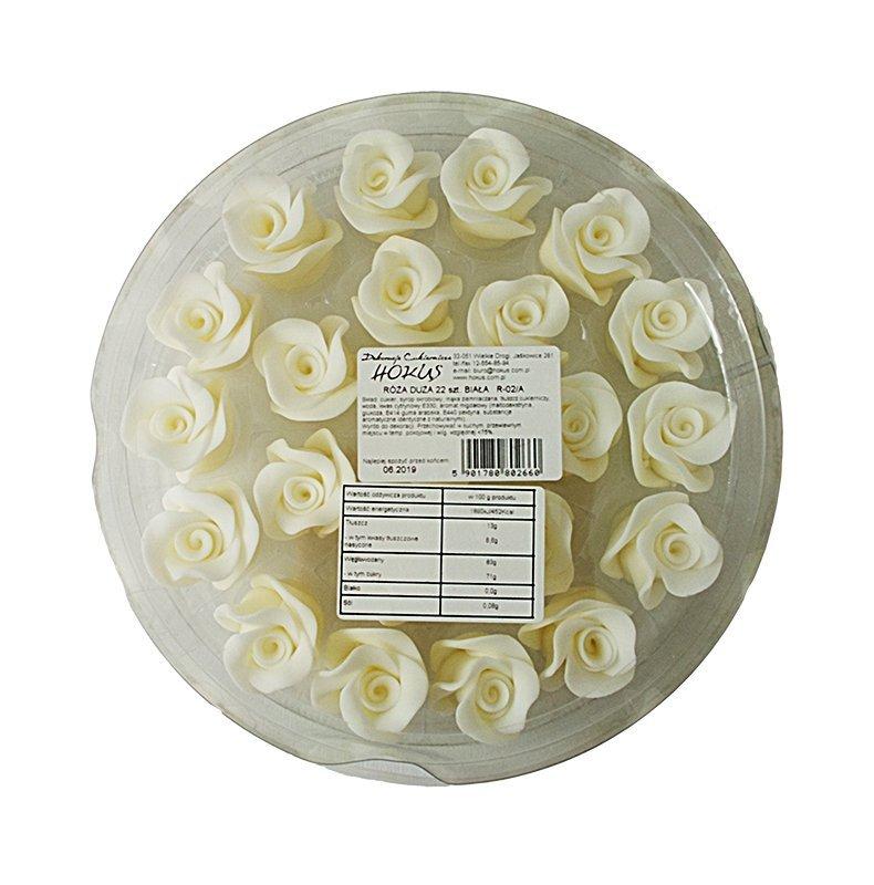 Róże cukrowe DUŻE 22szt białe