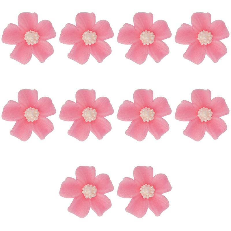 Kwiatki cukrowe na tort NIEZAPOMINAJKA 10szt różowe