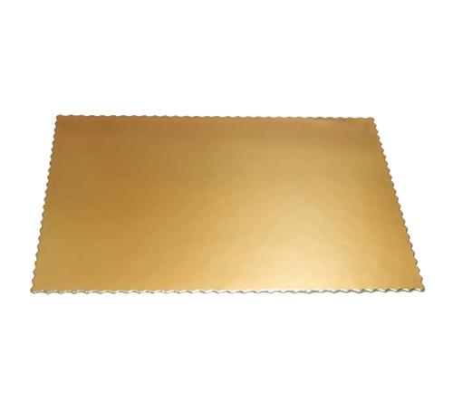 Podkład pod tort gruby złoty prostokątny dwustronny karbowany 30 x 40cm