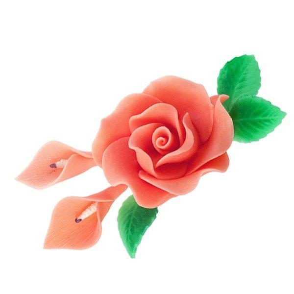 Zestaw cukrowe kwiaty RÓŻA MAX + KALIE z listkami ŁOSOSIOWE