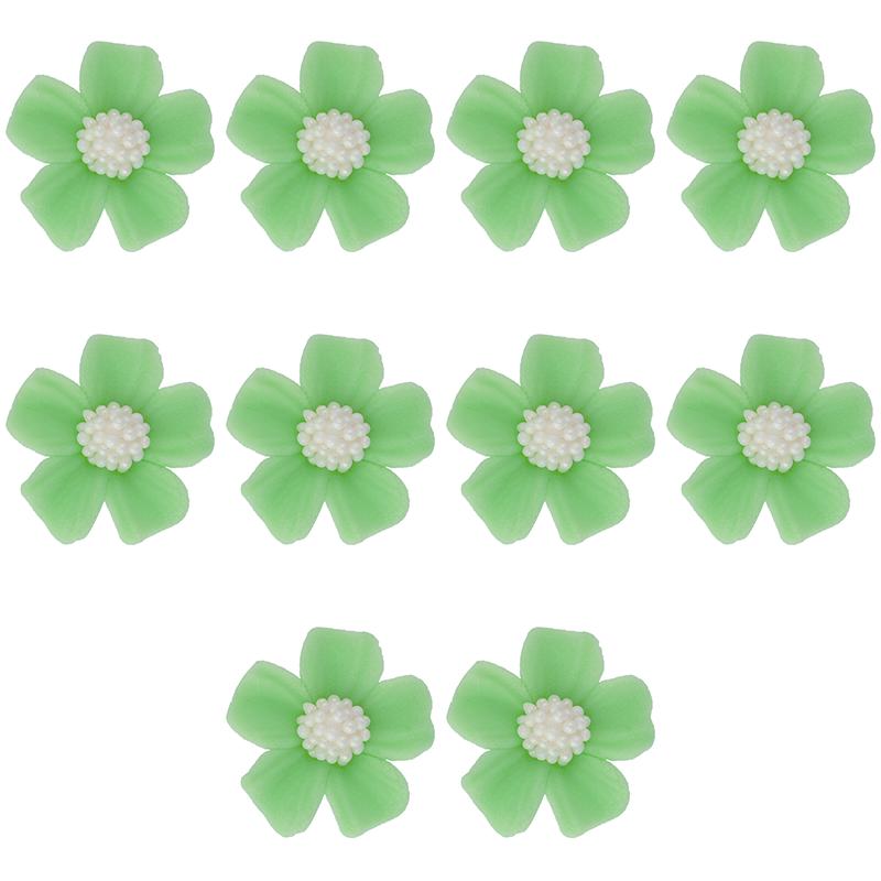 Kwiatki cukrowe na tort NIEZAPOMINAJKA 10szt zielone