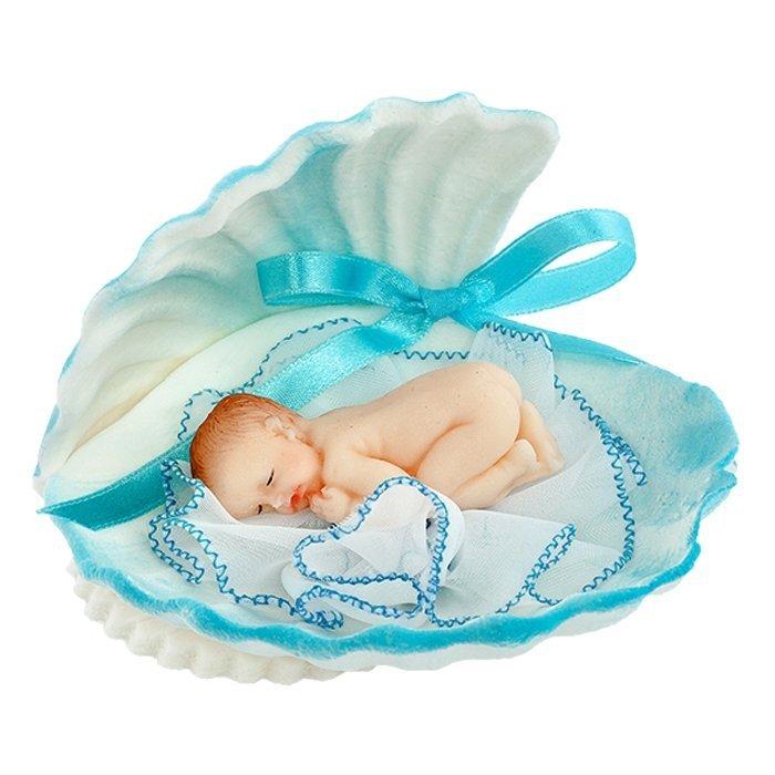 Figurka na tort BOBAS W MUSZLI chrzest baby shower niebieski