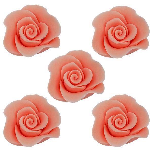 Cukrowe kwiaty na tort RÓŻA MINI MAX 20szt ŁOSOSIOWY