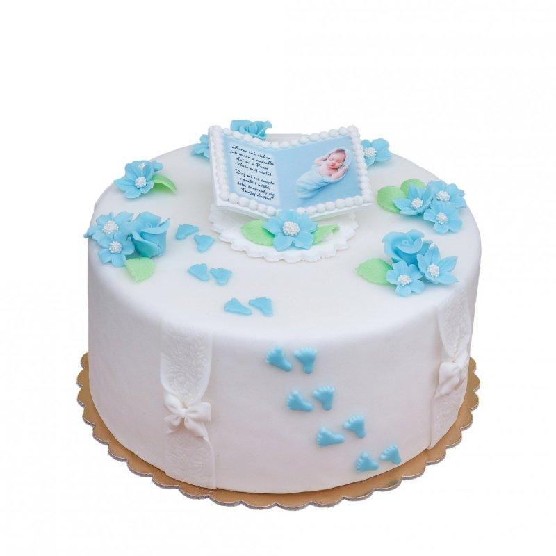 Cukrowa dekoracja na tort STÓPKI NIEBIESKIE - 10 szt.