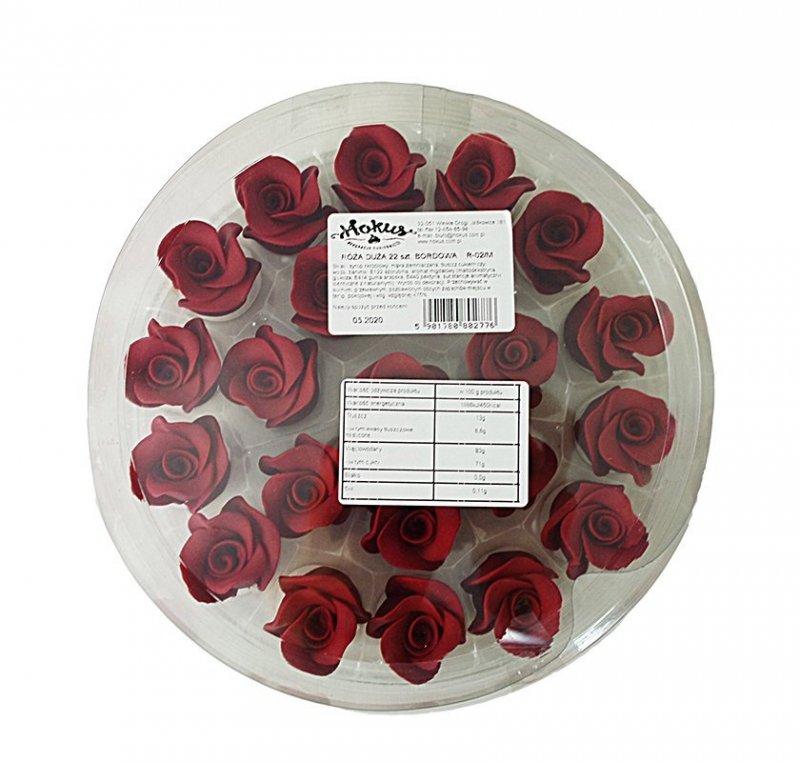 Róże cukrowe DUŻE 22szt bordowe