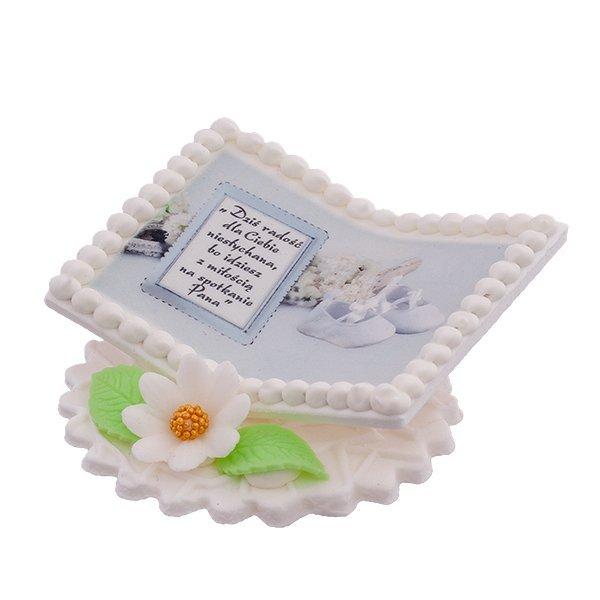 Dekoracja cukrowa na tort chrzest KSIĄŻECZKA Z BUCIKAMI biała