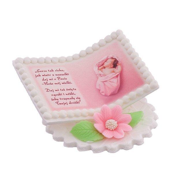 Dekoracja cukrowa na tort chrzest KSIĄŻECZKA Z DZIECKIEM różowa