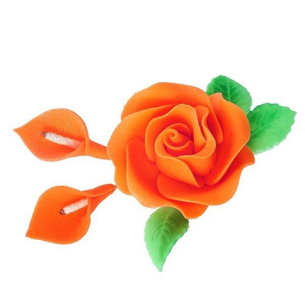 Zestaw cukrowe kwiaty RÓŻA MAX + KALIE z listkami POMARAŃCZOWE