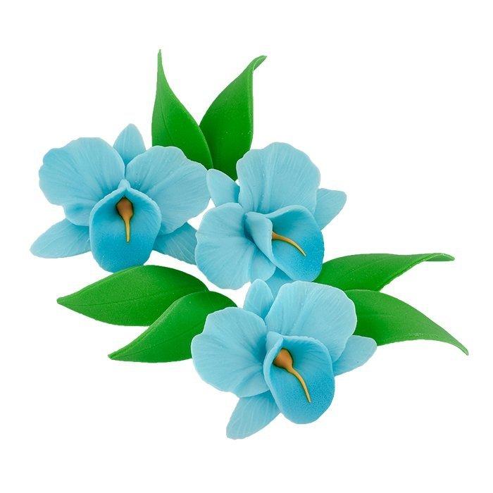Zestaw cukrowe kwiaty na tort STORCZYK z listkami NIEBIESKI
