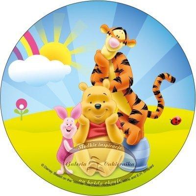 Opłatek na tort okrągły Kubuś Puchatek i Tygrysek