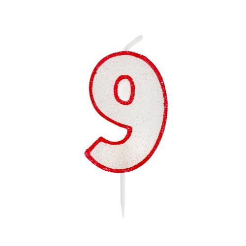 Świeczka urodzinowa na tort cyfra z brokatem 9