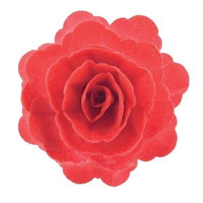 Róża waflowa na tort XL duża (12,5cm) czerwona 1szt