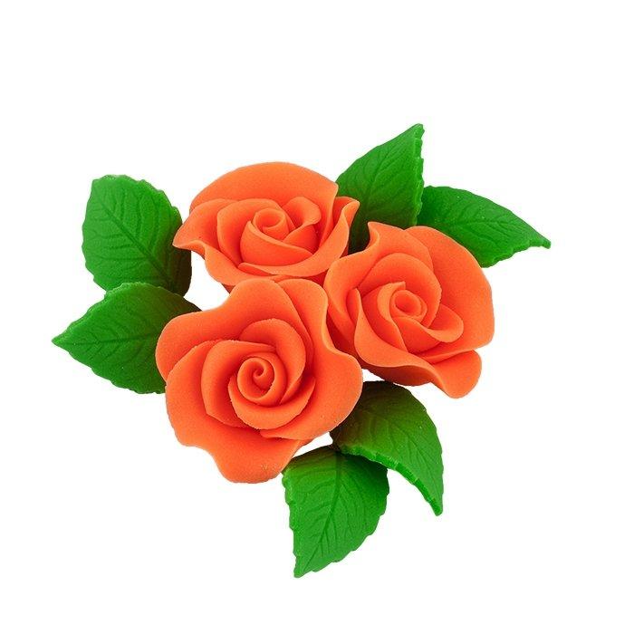 Zestaw cukrowe kwiaty na tort 3 ŚREDNIE RÓŻE z listkami POMARAŃCZOWY