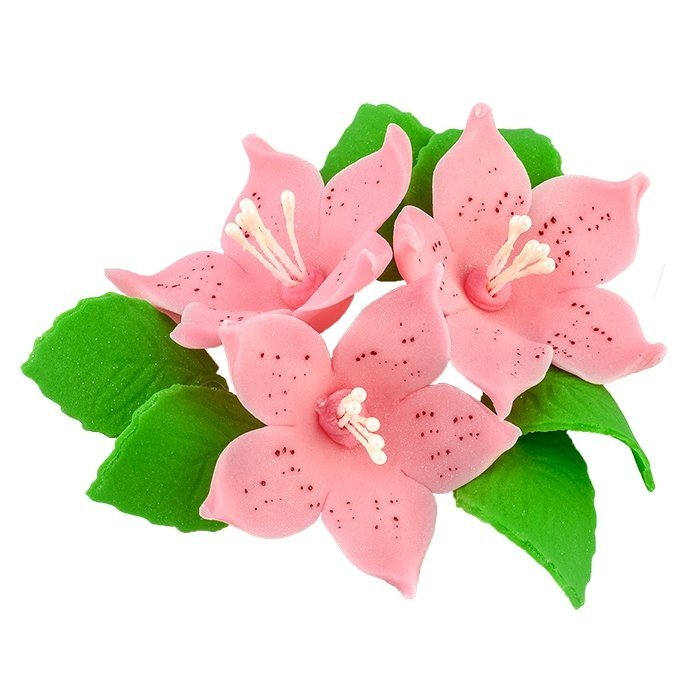 Zestaw cukrowe kwiaty na tort LILIJKA z listkami RÓŻOWA
