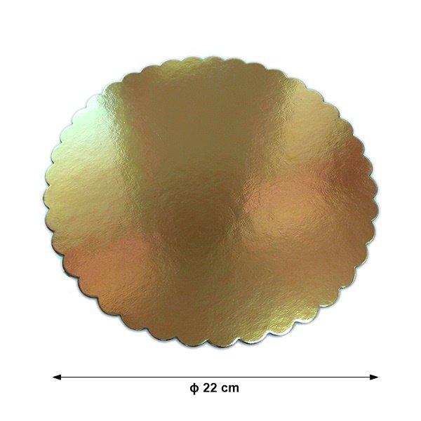 Podkład pod tort gruby złoty karbowany śr. 22cm