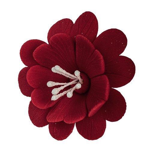 FUKSJA kwiat cukrowy na tort 6,5cm BORDOWY 8szt
