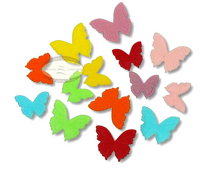 Motylki cukrowe na tort płaskie kolorowe MIX 14szt