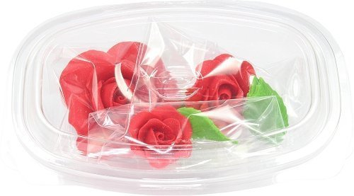 Zestaw cukrowe kwiaty na tort 3 RÓŻE z listkami RÓŻOWE