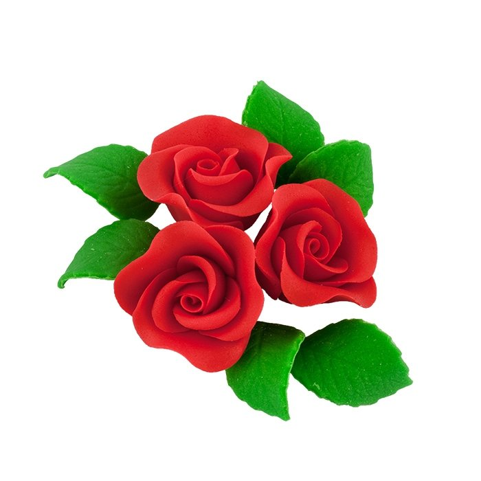 Zestaw cukrowe kwiaty na tort 3 ŚREDNIE RÓŻE z listkami CZERWONY