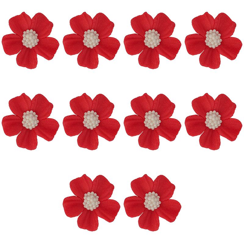Kwiatki cukrowe na tort NIEZAPOMINAJKA 10szt czerwone