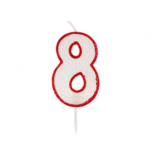 Świeczka urodzinowa na tort CYFRA 8 czerwony kontur z brokatem