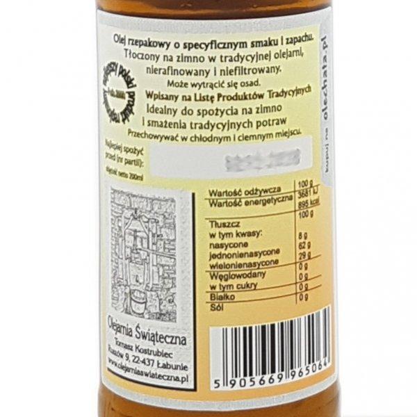Olej świąteczny roztoczański 200 ml  bity tradycyjnie - tył etykieta.