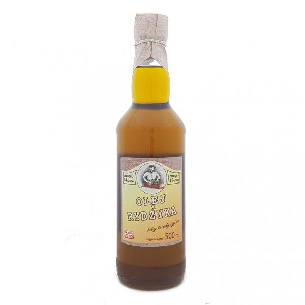 Olej z rydzyka 500 ml bity tradycyjnie - przód.