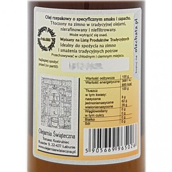 Olej świąteczny roztoczański 500 ml  bity tradycyjnie - tył etykieta.