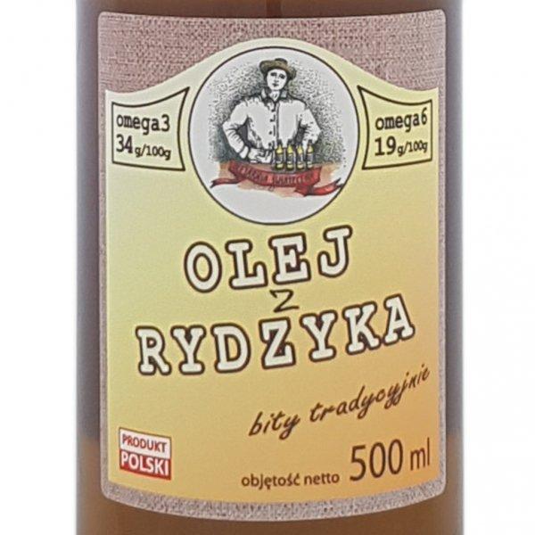Olej z rydzyka 500 ml bity tradycyjnie - przód etykieta.