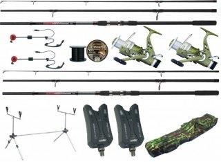 Zestaw karpiowy Jaxon 2xWędka black arrow Carp 3.60 3lbs 2xkołowrotek top carp frt 500 + Pokrowiec