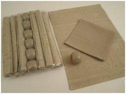 Podkładki na stół + Serwetki + Obrączki na serwetki x 6-szt - Beż - Śnieżka