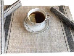 Podkładki na stół w beżowo - zielonkawe paski - Komplet 4szt