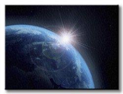 Obraz do biura - Ziemia i Słońce - 120x90 cm